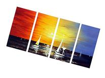 - Sailing Modern 4 Piece 100% Hand Painted Stretched and