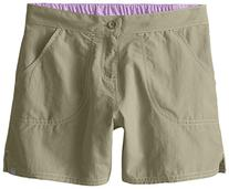 White Sierra Girls Sand and Sun Shorts, Bark, Small