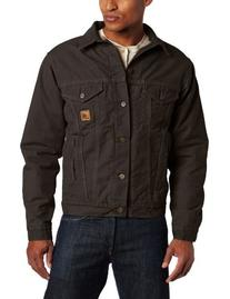 Carhartt Men's Big & Tall Sherpa Lined Sandstone Jean Jacket