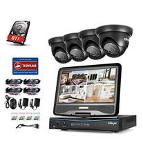 "Sannce 4CH 720P Hybrid DVR with 10.1"" Adjustable LCD Screen"
