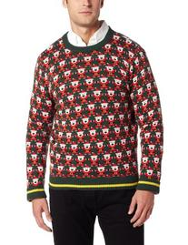 Alex Stevens Men's 8 Bit Santa Holiday Sweater, Green Beret