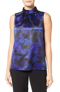 Women's T Tahari Sapphire Print High Neck Blouse, Size Small