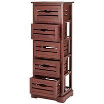 Safavieh Sarina Pine 5 Drawer Cabinet in Red