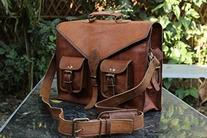 HLC Leather Messenger Bag Satchel Laptop Briefcase Bag