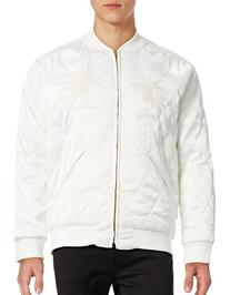 Stussy Satin Palm Bomber Jacket-WHITE-Small
