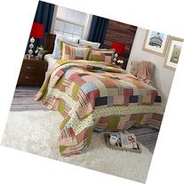 Lavish Home Savannah Printed 3-Piece Quilt Set, Full/Queen