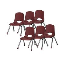 School Stack Kids Chairs w Chrome Legs in Burgundy - Set of