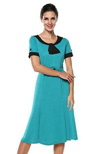 ACEVOG Women's Scoop Neck Contrast Vintage Bridesmaid