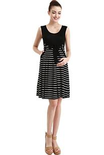 Momo Maternity Scoop Neck Striped Dress - Black M