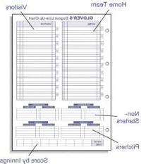 Glover's Scorebooks Dugout Line Up Chart Insert