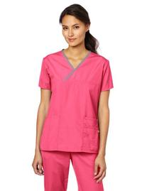WonderWink Women's Scrubs Charlie 5 Pocket Y-Neck Wrap Top,