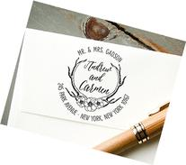Self-Inking Return Address Stamp, Antler and Roses Graphic,