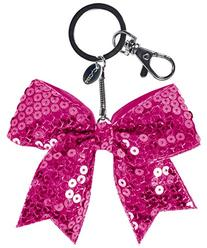 Mini Solid Sequin Bow Keychain Seq Pink