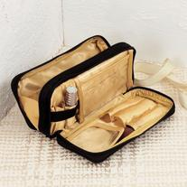 Aura Serum Gold Multi Pouch Cosmetic Bag Black and Gold