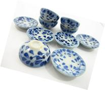 Set 10 Mixed Bowl Plate Dish Spot Blue Paint Dolls House