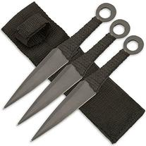 Set 3 Ninja Stealth Black Throwing Knives With Nylon Case