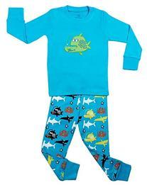 "Elowel Boys ""Whale Fish"" 2 Piece Pajama Set 100% Cotton - 6"