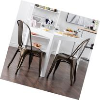 Belleze© Set of  Metal Chairs Side Dining Steel High
