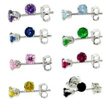8 Pairs Set Sterling Silver 4mm Color Cz Stud Earrings Light