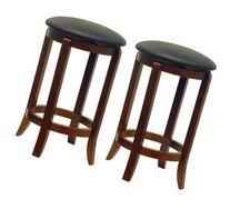 Winsome Wood 24-Inch Set of Two Black PVC Seat Bar Stools,