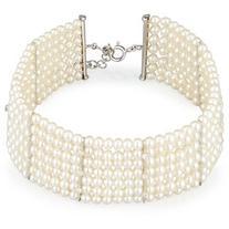 Utopia Seven-Strand Pearl Choker Necklace with Diamonds
