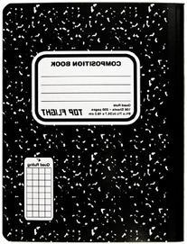 Top Flight Sewn Marble Composition Book, Black/White, Quad