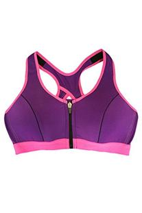 Pink Queen Sexy Front Zipped Cross Back Wirefree Yoga Sports