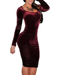 Sexy Womens Wine Red Velvet Long Sleeve Bodycon Bandage