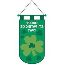 """""""Happy St. Patrick's Day"""" Shamrock Door Banner, Green, Felt"""
