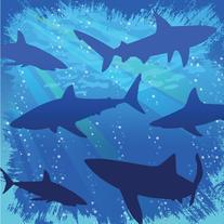 Shark Splash 3-Ply Beverage Napkins