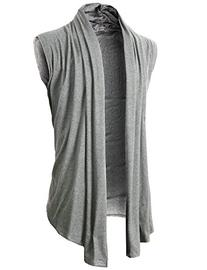 H2H Men's Shawl Collar Sleeveless Cardigan With No Button