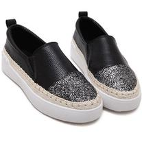 SheIn Black PU Slip On Cap Toe Espadrille Flats