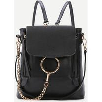 SheIn Black Ring Design PU Backpack With Convertible Strap