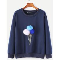 SheIn Navy Ice Cream Print Pom Pom Sweatshirt