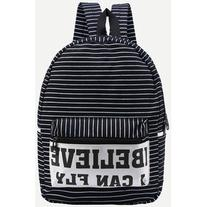 SheIn Letter Print Striped Canvas Backpack - Black