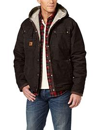 Carhartt Men's Sherpa Lined Sandstone Hooded Multi Pocket Jacket J284,Dark Brown  ,Small