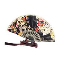 uxcell® Shiny Sequins Decor Flower Print Folding Hand Fan w