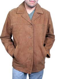 Mens Shirt Style Fashion Jacket Genuine Nubuck Leather Brown