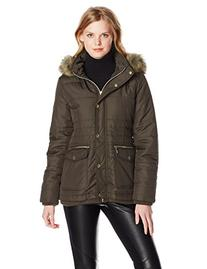 Kensie Women's Short Down Coat with Suede Trim, Olive, Large