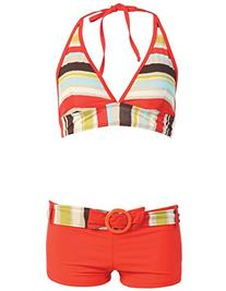 2 Piece Short & Halter Bikini Top Swimsuit Set
