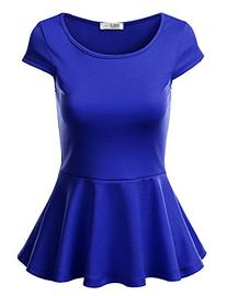 J.TOMSON Women's Short Sleeve Fitted Peplum Top ROYAL L