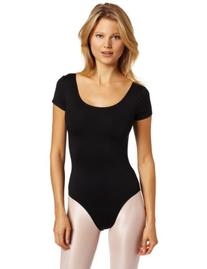 Danskin Women's Short-Sleeve Leotard, Black, Petite