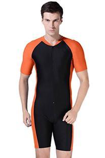 Short Sleeve One Piece Swimsuit Surfing Suit Orange