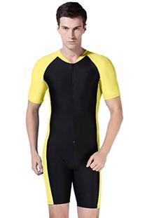 Short Sleeve One Piece Swimsuit UPF 50+ Rashguard Yellow