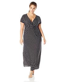 Star Vixen Women's Plus-Size Short Sleeve Twist Front Maxi