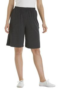 Women's Plus Size Shorts In 7-Day Knit Heather Charcoal,1X