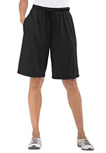 Women's Plus Size Shorts In Soft Sport Knit Black,3X