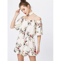 Off The Shoulder Lace Up Floral Romper With Choker