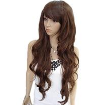 Angelaicos Women's Side Parting Bangs Wavy Curly Daily