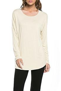 12 Ami Signature Long Sleeve Basic T-Shirt Tunic Top Ivory